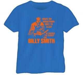 Billy Smith Goalie Hockey Legend NY Retro Blue T Shirt