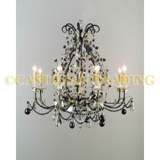 New Metal Glass Chandelier with Silver Finish Black and Crystal Beads