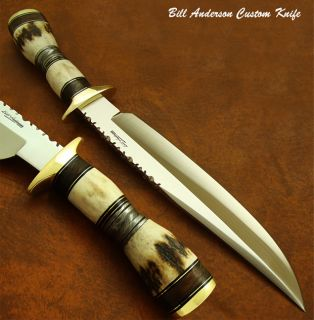 Bill Andersons 1 of A Kind Unique Custom Bowie Knife Stag Antler