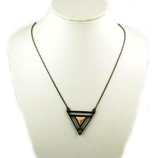 Black Egyptian Magic Trangle Pendant Necklace Short Chain Cool Design