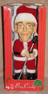 BING CROSBY MUSICAL SINGING SANTA CHRISTMAS ANIMATED DOLL 2002 w BOX