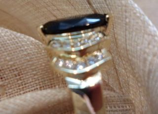 14k yellow gold marquise black onyx diamond step ring size 6 62412 11