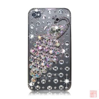 3D Clear Luxury Peacock Rhinestone Bling Crystal Back Case Cover for