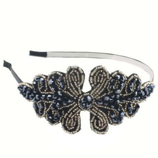 New Lady Fashion Trendy Bling Beads Flower Design Headband Hair Band