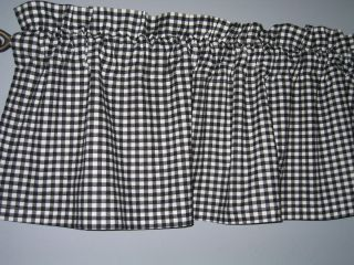 COUNTRY KITCHEN PRIMITIVE CURTAIN VALANCE BLACK WHITE CHECK NEW