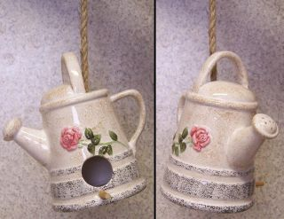 ceramic garden watering can bird house are we there yet