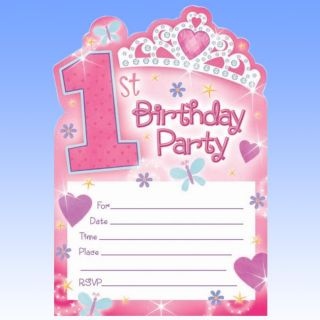 20 Girls Pink 1st Birthday Princess Party Invitations
