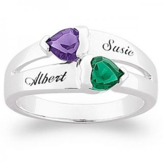STERLING SILVER COUPLES HEART CUT NAME BIRTHSTONE RING   CUSTOMIZED