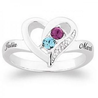 PERSONALIZED STERLING SILVER COUPLES OPEN HEART NAME BIRTHSTONE RING