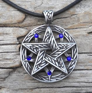 Celtic Pagan Sapphire Blue Crystal September Birthstone Pendant