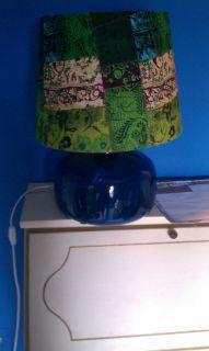 market multi colored big lamp shade blue purple green cream floral