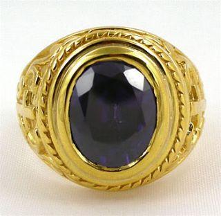 Christian Bishop Cross 14k Yellow Gold Silver Mens Ring