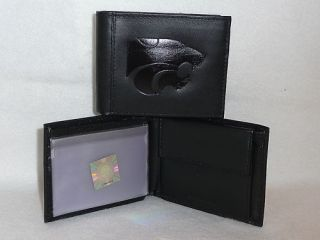 Kansas State Wildcats Leather Bifold Wallet Black CF