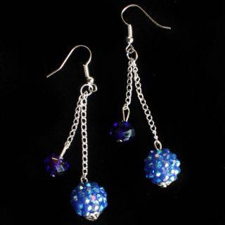 Blue Crystal Ball Bling Two Tier Silver Link Dangle Women Earrings