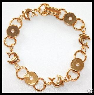 Unique Dolphin 24K Gold Plated Link Bracelet Blank Form
