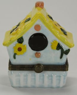 Bird House Trinket Box Porcelain Hinged
