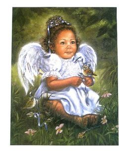 Ready to Frame Home Interiors Black Child Angel Print