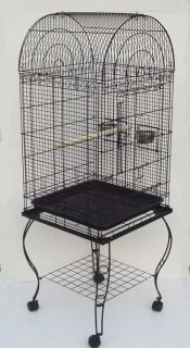Parrot Bird Cage Domed w Stand 20x20x59 0103 Black
