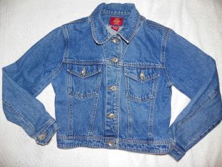 Girls Gap Blue Jeans Denim Jean Jacket Small Embroidered Flowers L K