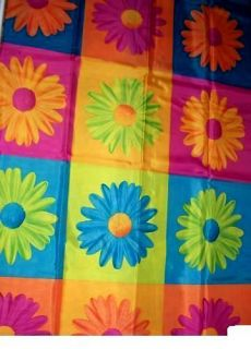 Crazy Daisy Blue Green Flower Fabric Shower Curtain NW