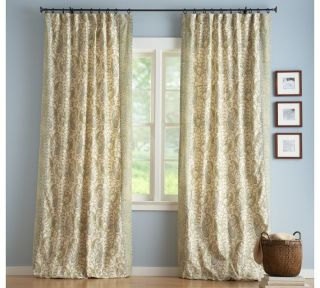 Two Pottery Barn Colette Paisley Drapes Blue Green 50x84