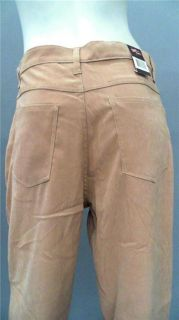 Bill Blass Jeans Petite 6P Stretch Casual Straight Pants Tan Solid