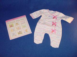 NIP American Girl Bitty Baby Doll Pink Bow Sleeper Book