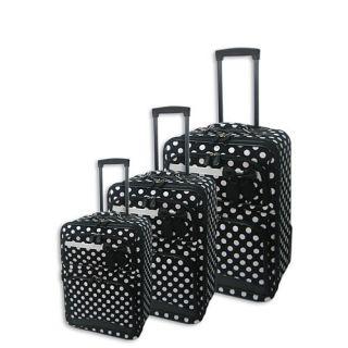 Black White Polka Dot 3 Piece Rolling Luggage Set Suitcase