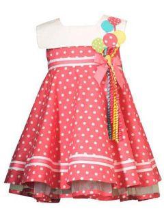 Girls Coral Pink Polka Dot Balloon 1st 2nd Birthday Dress 24M