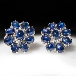 Fine Natural Blue Star Sapphire & Diamond Cluster Earrings Solid 18K