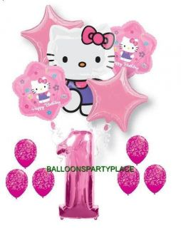 Hello Kitty Pink Purple 1st Birthday Damask Party Balloons First