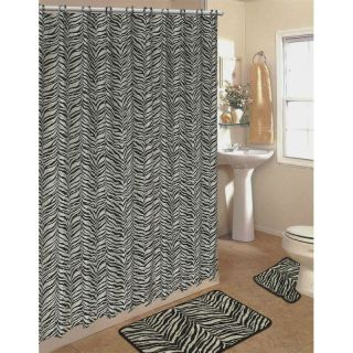 15 PC Bath Rug Set Black Zebra Animal Print Bathroom Shower Curtain