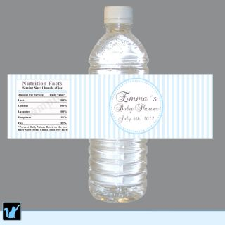 Blue Stripes Water Bottle Labels Wrappers Birthday Baby Shower