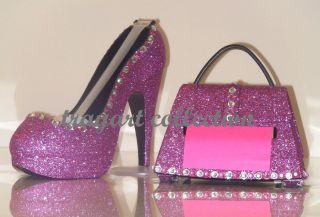 Pink Bling High Heel Shoe TAPE DISPENSER Purse NOTE DISPENSER office