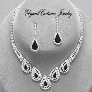 Black Bridesmaid Prom Crystal Necklace Set Elegant Chunky Jewelry