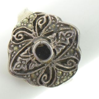 Vintage Sterling Silver   Black Onyx & Marcasite   Ring (6.25) YA663