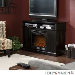 Fenton BLACK ELECTRIC FIREPLACE TV Stand Room HEATER Indoor Holly