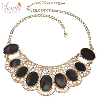 FASHION JEWELRY BLACK EXPOXY 14K YELLOW GOLD PLATED TRENDY COLLAR BIB