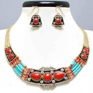 Necklace Set Blue Black Beads Gold Colorful Costume Jewelry Stones