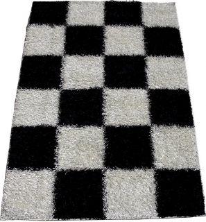 Shag Shaggy Checker Black White 8x11 Area Rug Elegant