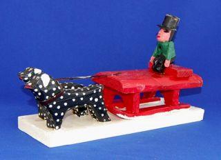Emile Bluteau Folk Art Primitive Carving Listed Quebec Dog Sleigh Ride