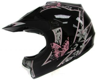 YOUTH BLACK PINK BUTTERFLY DIRT BIKE ATV MOTOCROSS OFF ROAD DOT HELMET