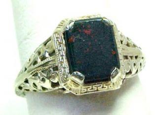 Antique Bloodstone Ring Solid 14k White Gold Filigree