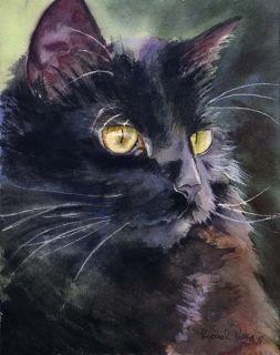 Print Watercolor Painting Black Cat Art Alert