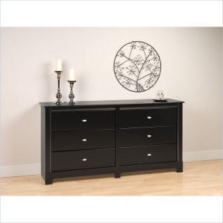 Prepac Kallisto 6 Drawer Double Black Finish Dresser