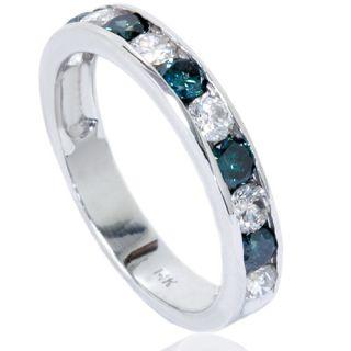 00CT Channel Set Blue & White Diamond Wedding Anniversary Ring 14K