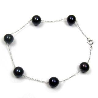genuine 7 8mm black pearl 14k white gold bracelet