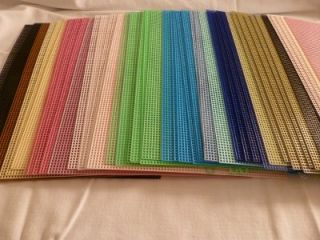 LARGE lot~48 Darice+ Plastic Canvas Sheets~Blue/Pink/Black/Green/Brown