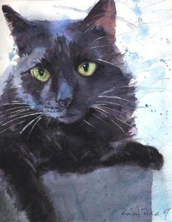 Print Black Cat Art Watercolor Painting Splash