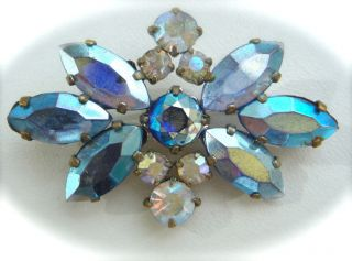 Art Deco Silver Tone Brooch Pin Czech Aurora Borealis Blue Clear Glass